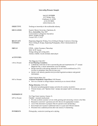 Intern Resume Objective Prepossessing Student College For Your