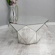 clear mirrored round coffee table