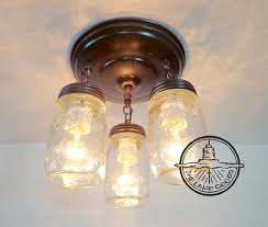 mason jar light fixture new pint trio flush mount farmhouse ceiling chandelier pendant lighting rustic kitchen ball track fan by lampgoods