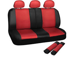 oxgord leatherette bench seat covers universal fit for car truck suv van red black