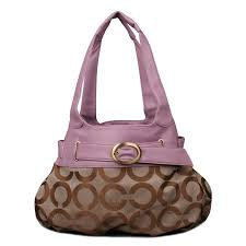 Coach Buckle In Signature Large Purple Khaki Hobo EMZ Clearance Outlet