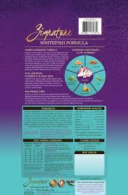 Zignature Feeding Chart Zignature Whitefish Limited Ingredient Formula Grain Free Dry Dog Food 4 Lb Bag