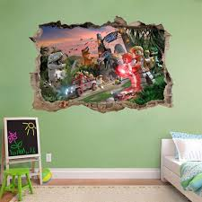 jurassic world lego smashed wall decal removable wall sticker art mural h333