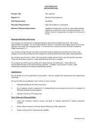 Cnc Operator Job Description For Resume