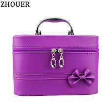 bow style woman leather cosmetic bags handbag necessary organizer makeup bag travel toiletry bag large capacity