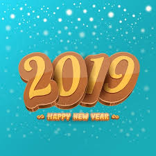 2019 Happy new year design background or greeting card with colorful ...