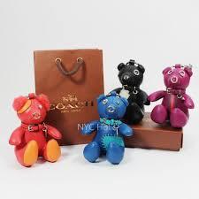 new coach 56749 leather teddy bear key chain charm black orange blue fuchsia nwt