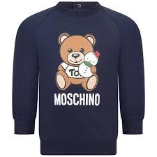 Moschino Navy Teddy Print Baby Sweater