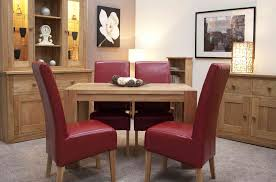 Red dining table set Red Leather Details About Padova Solid Oak Furniture Small Dining Table And Four Red Leather Chairs Set Ebay Padova Solid Oak Furniture Small Dining Table And Four Red Leather