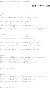 Fill My Cup Lord Christian Gospel Song Lyrics And Chords