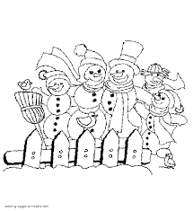Snowmen family coloring pages