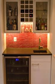 IKEA Wet Bar Cabinets With Sink In Small Kitche Red Backsplash - Simple basement wet bar