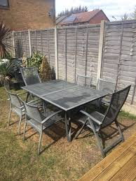 grey mesh extendable garden table and chairs set