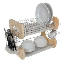 Wooden Plate Racks For Kitchens Kitchen Sweet Polder Corkscrew Dish Rack In Sunny Yellow Pour