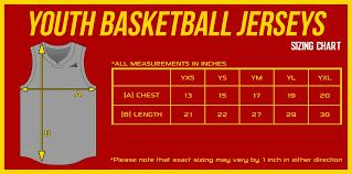 Kids Jersey Size Chart Youth Basketball Jersey Size Chart