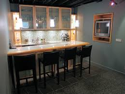 image of basement bar from kitchen cabinets