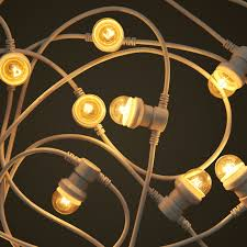 commercial white festoon lighting with small clear light globes