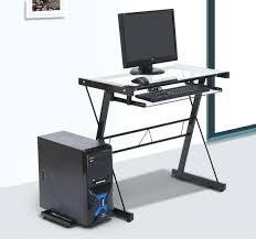 computer desk with glass top computer table glass top laptop desk home furniture steel frame 1