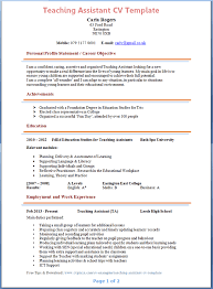 Free Teacher Resume Templates Magnificent Gallery Of Teaching Assistant Cv Example Teaching Resume Templates