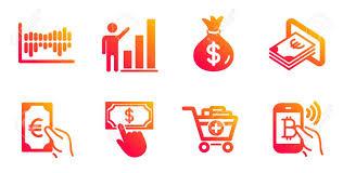 Click Chart Diagram Money Bag Graph Chart And Column Diagram Line Icons Set Payment