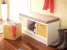 entryway featuring a 3 cube storage bench in white with fabric drawers closetmaid cushion i