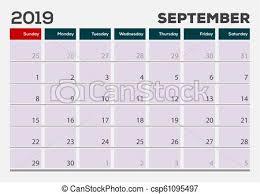 Callendar Planner September 2019 Calendar Planner Design Template