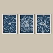 navy wall art canvas or prints white dahlia flower floral design set of 3 trio bedroom on navy blue flower wall art with flower pictures navy aqua bedroom decor navy aqua bathroom wall