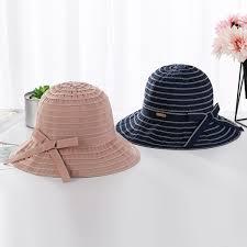 Outdoor Beach Sunscreen Bucket Cap Ladies Ribbon Fishing Hat Women Wide Brim Fisherman Hats New Foldable Sun Caps Visor Womens Hats Hats For Women