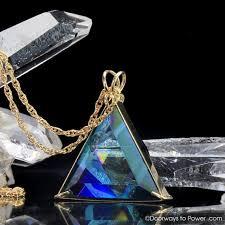 exquisite aqua aura star of david vogel crystal triangle pendant 14k gold