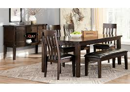 dark dining room furniture. fine furniture haddigan dark brown rectangle dining room extension table w4 upholstered  side chairs u0026 bench intended furniture