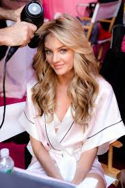candice swanepoel getting hair and makeup done at the victoria s secret fashio
