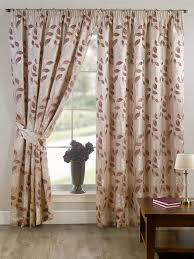 stylish pencil pleat tape top lined flower pattern pair of curtains plum cream colour