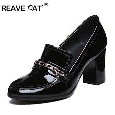 reave cat patent leather thick square heel metal decoration simple office shoes women pumps genuine leather