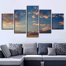 blue sky cloud multi panel canvas art
