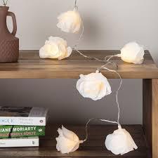 Cream Rose Fairy Lights Lights4fun 20 Led Cream Rose Flower Indoor Fairy Lights