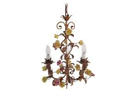 italian chandelier with porcelain flowers photo 1