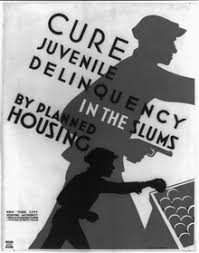 juvenile delinquency  1936 poster promoting planned housing as a method to deter juvenile delinquency showing silhouettes of a child stealing a piece of fruit and the older