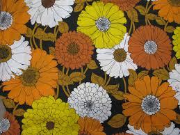 Vintage Floral Print Vintage Mod Huge Flower Power Print Fabric Sheet Floral