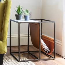 square marble side table with leather rack