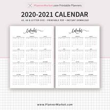 2020 Year At A Glance Calendar Template 2020 2021 Calendar Printable Year At A Glance Filofax A5 A4 Letter Size Planner Template Planner Inserts Planner Refills Instant Download