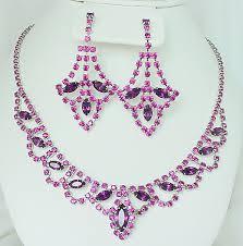 purple necklace chandelier earrings set