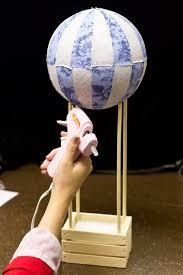 diy hot air balloon wedding centerpiece using styrofoam ball and fabric