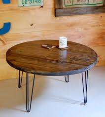 ... Furniture, Hairpin Coffee Table Legs With Brown Round Rustic Wood Top Designs  Ideas For Living ...