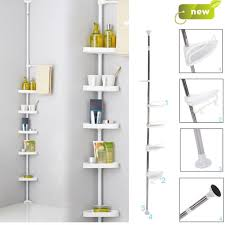 Telescopic Shower Corner Shelves Delectable Non Rust Bathroom Telescopic Corner Shelf Storage 32 Tier Shower