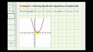 ex 1 solving quadratic equations graphically using x intercepts you