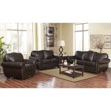 abbyson richfield top grain leather living room sofa set