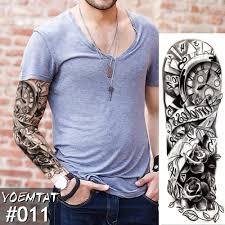 новый 1 шт временная татуировка стикер часы роза полный цветок тату с рукой