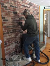 our brick fireplace makeover stone veneer