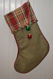 Bell S Trim And Design Christmas Stocking Plaid Green Gold And Red With Glitzy