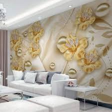 Senarai Harga Custom Wallpaper Papier Peint Golden Jewelry Flowers